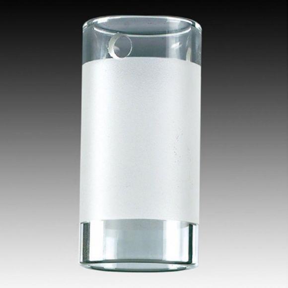 Opales Zylinderglas mit klarem Rand  zum 2-Phasen Hochvolt-Schienensystem -  Ø 3,8cm  Höhe 7,6cm