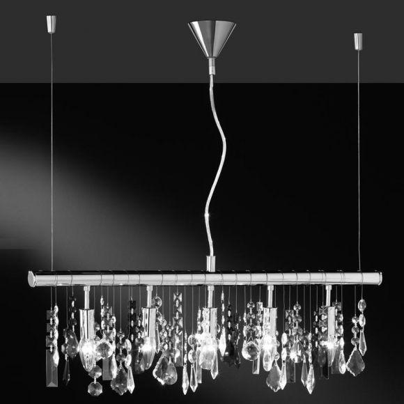 Pendellampe aus Chrom mit 22 Kristallanhängern, 5 flammig - Inklusive Leuchtmittel
