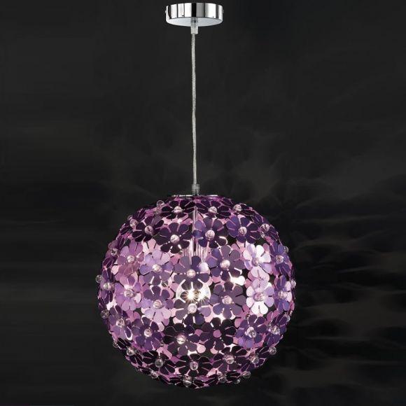 Pendelleuchte als Blütenball in Chrom mit Blüten in purpur und Acryl-Glas, 35 cm