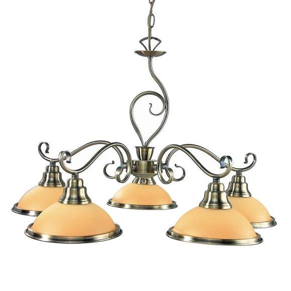 LHG Pendelleuchte in Altmessing, 5 flammig, Glas in Amber inklusive Leuchtmittel E27 5x60Watt