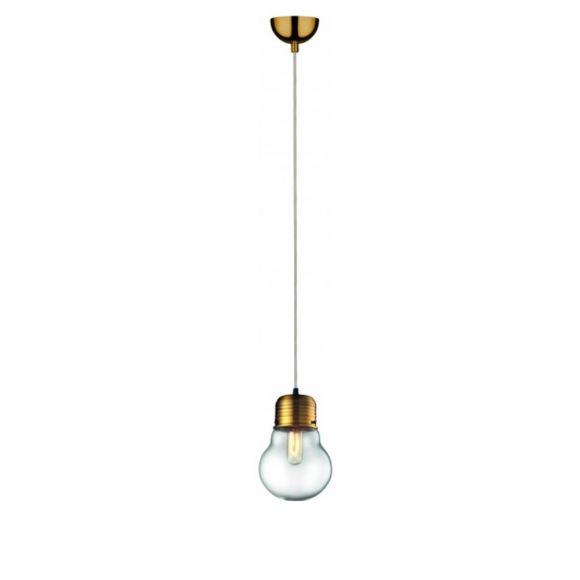 Pendelleuchte Bulb Glühbirne Altmessing mit Klarglas