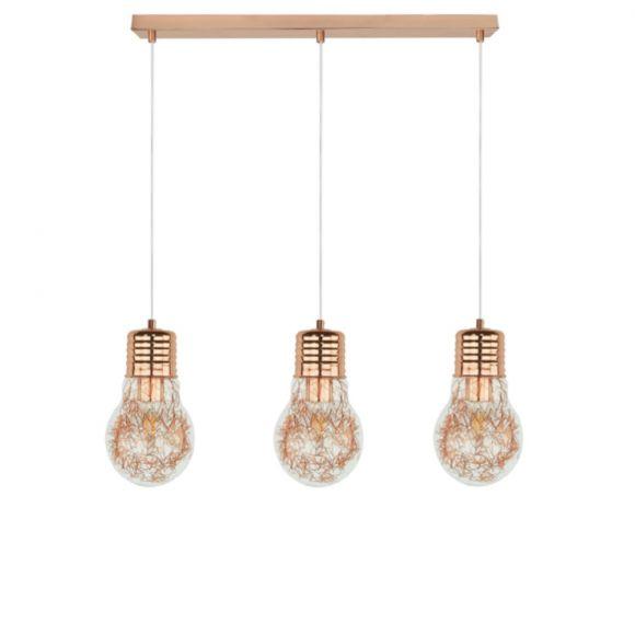 Pendelleuchte 3x Bulb Glühbirne mit Drahtfäden in Kupfer