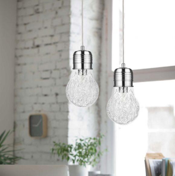Pendelleuchte Bulb, Glühbirne mit Drahtfäden in Chrom