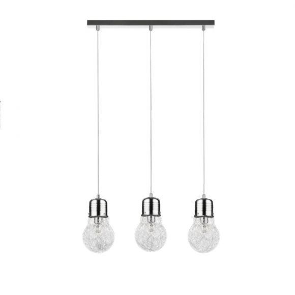 Pendelleuchte 3x Bulb, Glühbirne mit Drahtfäden in Chrom