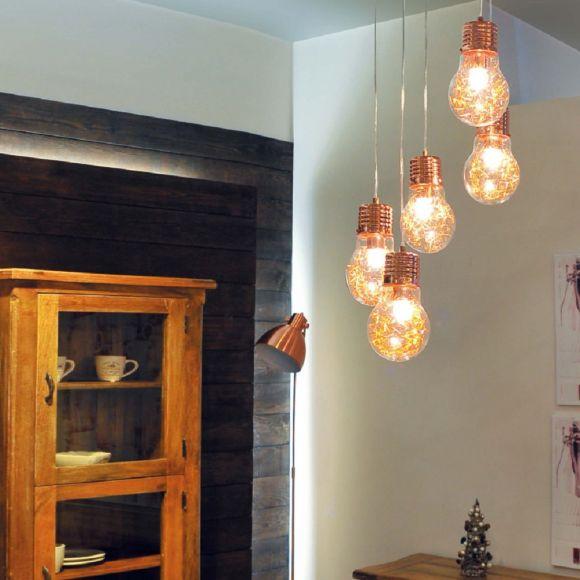 Pendelleuchte Bulb, Kupfer Glühbirne mit Drahtfäden