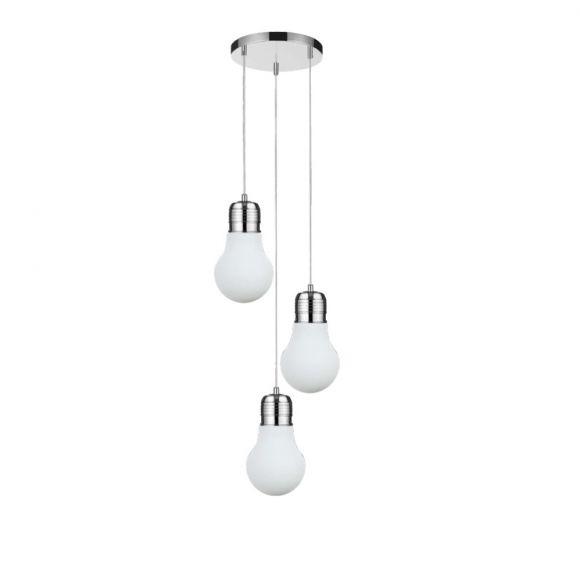 Pendelleuchte Bulb  weiß /Chrom