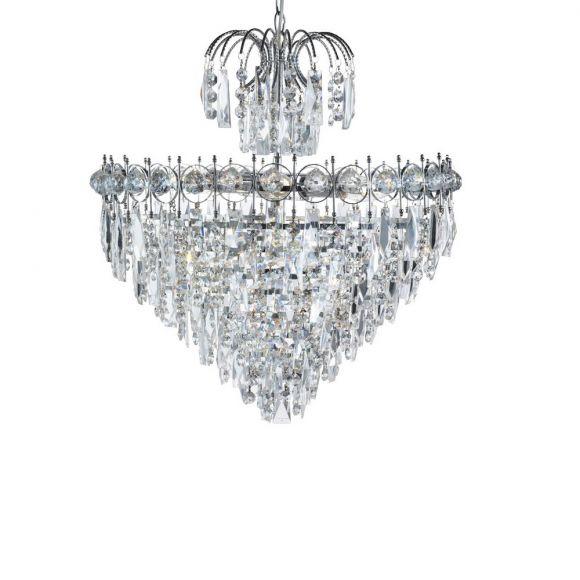 Pendelleuchte Catherine aus Chrom und Kristallglas 7-flammig