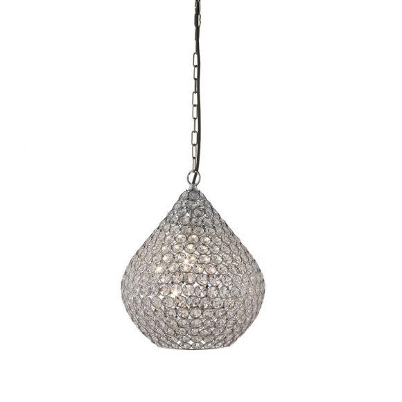 Pendelleuchte Chantilly aus Chrom und Kristallglas, 30 cm