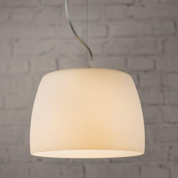 Pendelleuchte in Chrom mit weißem Opalglas 35 cm