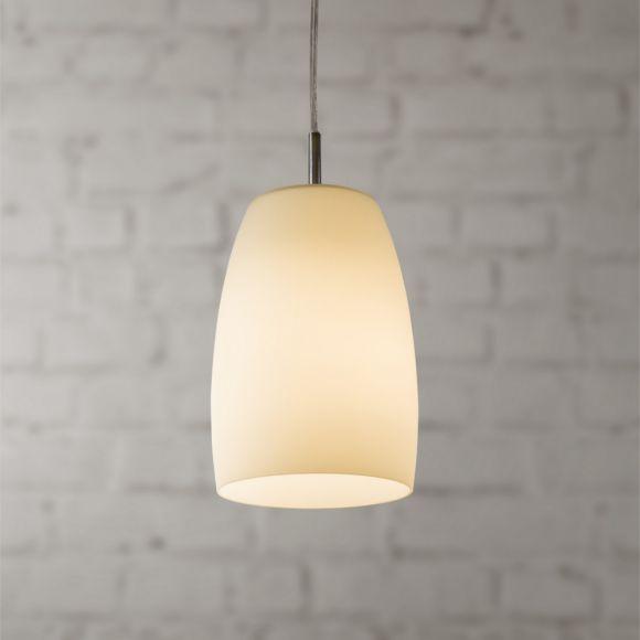 Pendelleuchte in Chrom mit weißem Opalglas 15 cm