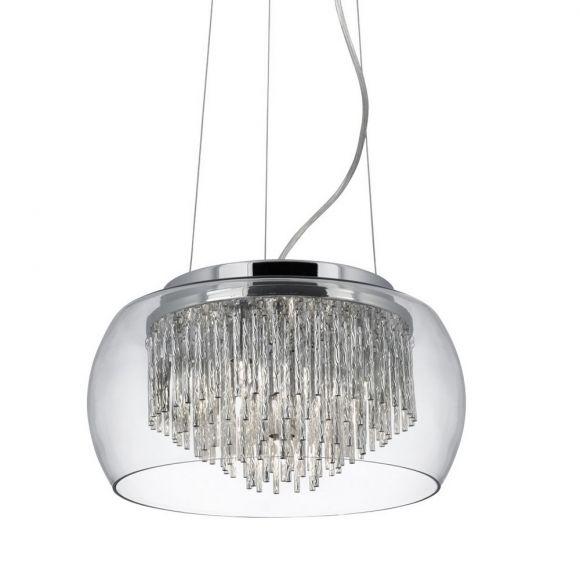 Pendelleuchte Curva aus Chrom mit Glaslampenschirm