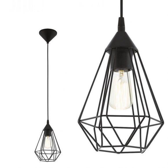 Pendelleuchte in Schwarz oder Kupfer, geometrisches Design