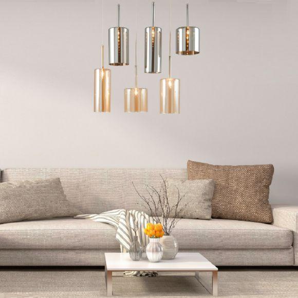 Pendelleuchte Gläser Farbmix Champagner/Grau, verschiedene Modelle