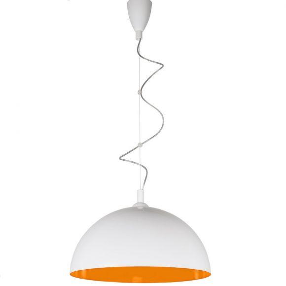 Pendelleuchte Hemisphere Fluo, 50 cm, Weiß / Orange