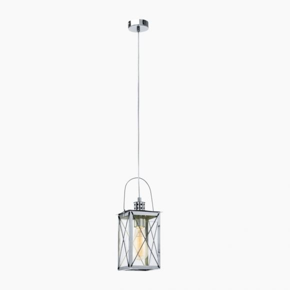 Pendelleuchte in Laternenform - Stahl - Chrom - Klares Glas - Für Leuchtmittel E27