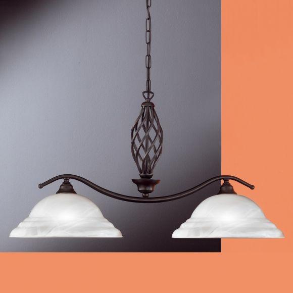Pendelleuchte Metall rost antik, Landhausstil / modern Country, Alabasterglas weiß, 2-flammig E27