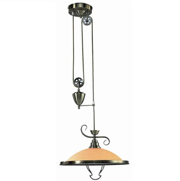 Pendelleuchte mit Gegengewicht, höhenverstellbar, in Altmessing, Glas in Amber, inklusive E 27 60Watt Leuchtmittel