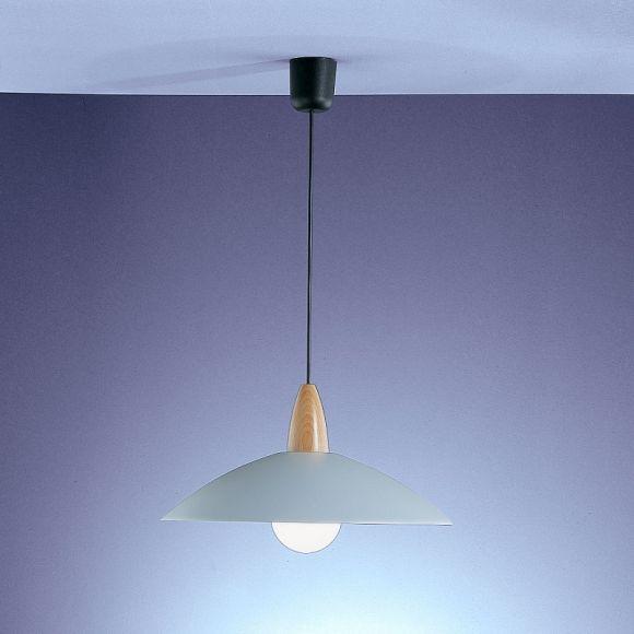 Pendelleuchte mit Metallreflektor in Titan-silberfarbig mit Buchenholz - Durchmesser 40cm