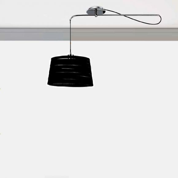 Pendelleuchte mit stoffschirm in wei und schwarz 33cm for Pendelleuchte stoffschirm