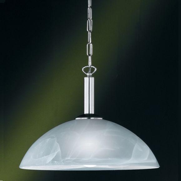 LHG Pendelleuchte in Nickel-matt mit Alabasterglas Ø40cm - inklusive Leuchtmittel 1x E27 60W