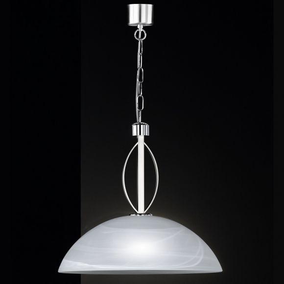 LHG Pendelleuchte in Nickel-matt/Chrom, mit Alabasterglas Ø46cm - inklusive Leuchtmittel 1x E27 60W