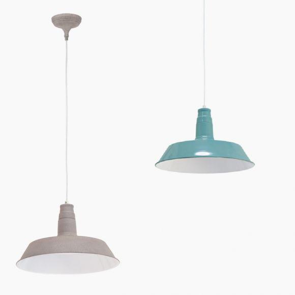 Pendelleuchte im Retro-Design  - Taupe-Struktur oder Mint - Für Leuchtmittel E27 60 Watt