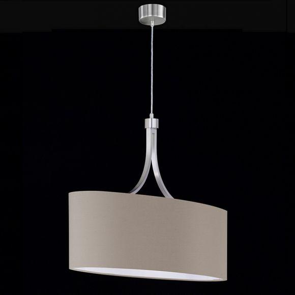 Pendelleuchte Schirm oval, textile Beschichtung in Cappuccino Metall in Nickel matt - inklusive 2x E27 60W AGL