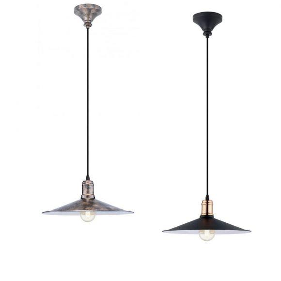 Pendelleuchte in Schwarz-kupfer oder kupferfarbig -antik - 36 cm