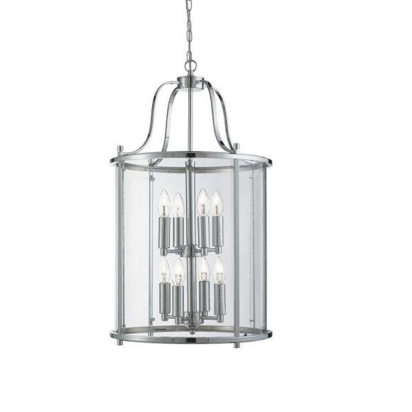 Pendelleuchte Victorian Lantern, Chrom und Klarglas 8-flg