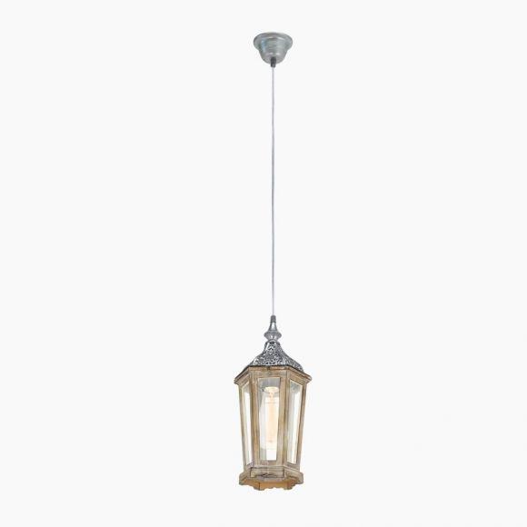 Pendelleuchte im Vintage Stil - Holz und Metall in Silber-Antik - Klares Glas - Für Leuchtmittel E27