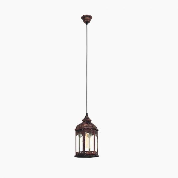Pendelleuchte im Vintage Stil - Metall in kupferfarbig - Klares Glas - Für Leuchtmittel E27