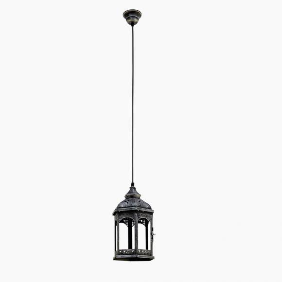 Pendelleuchte im Vintage Stil - Metall in Silber-Antik - Klares Glas - Für Leuchtmittel E27