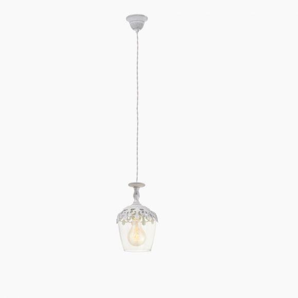 Pendelleuchte im Vintage Stil - Metall in Weiß-Patina - Klares Glas - Für Leuchtmittel E27