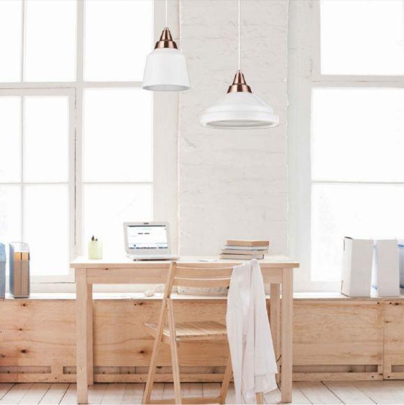 pendelleuchte yoko glas wei mit kupfer wohnlicht. Black Bedroom Furniture Sets. Home Design Ideas