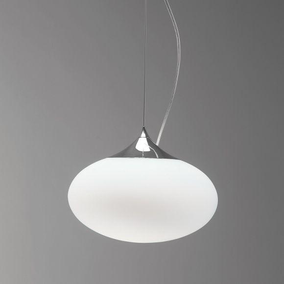 Pendelleuchte Zeppo mit weißem Kugelglas 30 cm