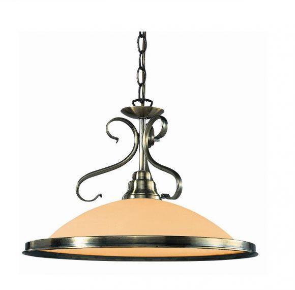 Pendelleuchte  in Altmessing, mit Glasschirm in Amber,  inklusive Leuchtmittel E27 60Watt