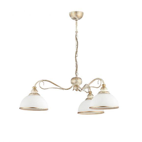 Pendelleuchte, antik, 3-flammig, Messing, weiß gelaucht, LED geeignet