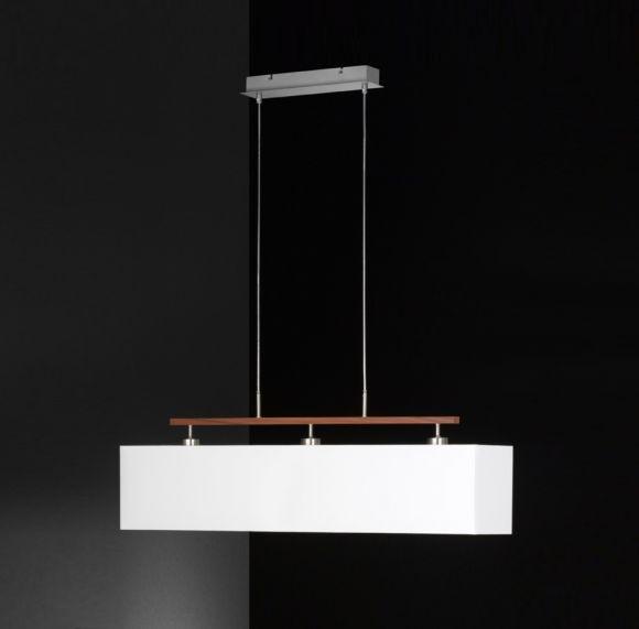 Pendelleuchte, Balken Holzdekor, Textil- Stoff- Schirm rechteckig, weiß, 100cm lang