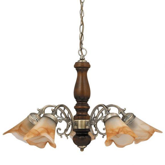 Pendelleuchte, Bronze, Holz, Walnuss, Alabasterglas, Tabak, 5 flammig