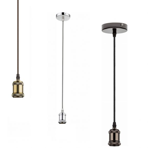 Pendelleuchte, E27, LED geeignet, Textilkabel, 3 Ausführungen