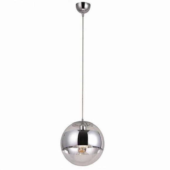 Pendelleuchte, Glas und Chrom Durchmesser 25 cm