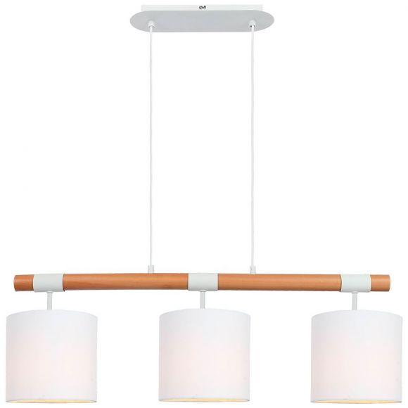 Pendelleuchte, holzfarbig, Schirm Stoff weiß, L 80 cm, LED einsetzbar