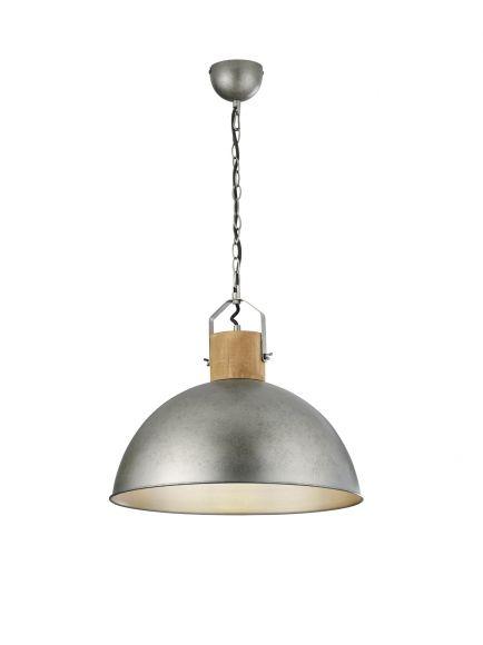 Pendelleuchte, Industriestil, Metall, D=45cm, Holzoptik
