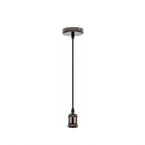Pendelleuchte, LED geeignet, Textilkabel schwarz, Metall Chrom schwarz chrom-schwarz/schwarz