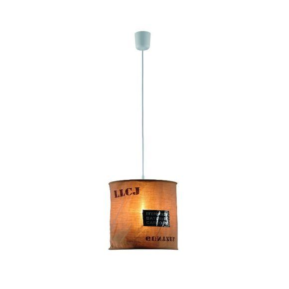 LHG Pendelleuchte, modern,  bedruckter Stoffschirm, D=27cm, Braun