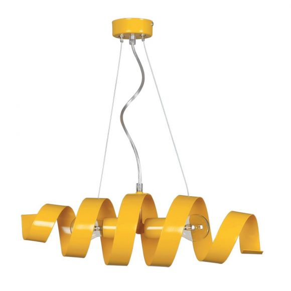 LHG Pendelleuchte, modern, Spirale, inkl. 2x LED E27 4,5 W, gelb, gedreht