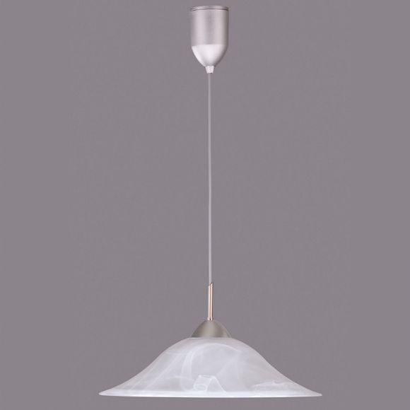 Pendelleuchte - Nickel matt - Alabasterglas Weiß 45 cm