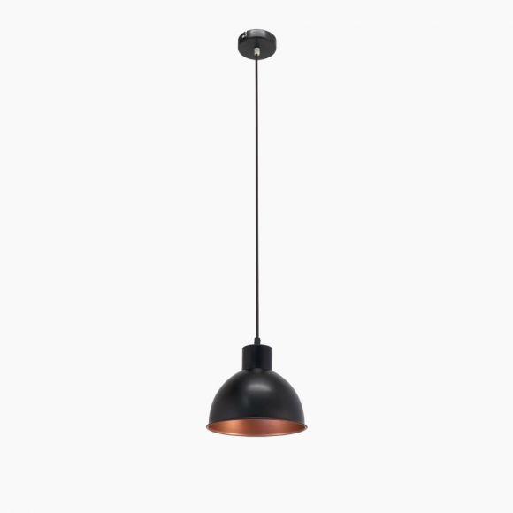 Pendelleuchte, Retro-Design, 21 cm, Schwarz / Kupfer
