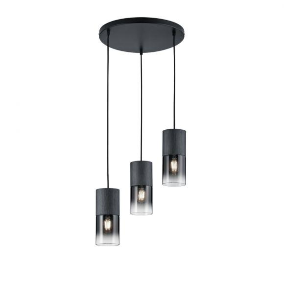 Pendelleuchte, schwarz matt, Rauchglas, 3-flg., Rondell, LED geeignet
