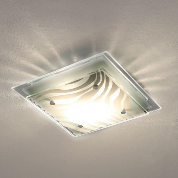 quadratische E27 Deckenleuchte aus Glas mit Streifendekor & Spiegelrand in Chrom, 24 x 24 cm, LED geeignet